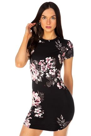 Floral Brushed Short Sleeve Bodycon Dress with Shirttail Hem
