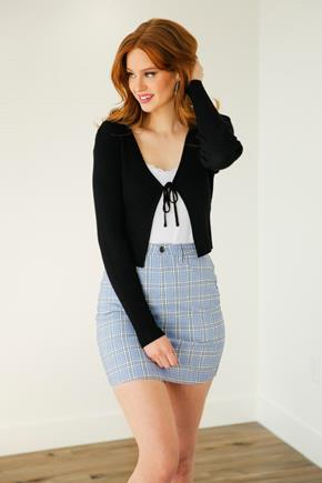 Ribbed Knit Tie-Front Cropped Cardigan