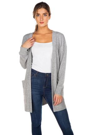 Brushed Thermal Cardigan with Pockets