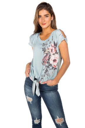 Floral French Terry Cold Shoulder Tie-Front Top