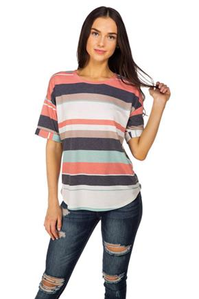 Stripe French Terry Oversized Tee