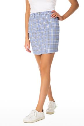 Blue Plaid Strechy Mini Skirt