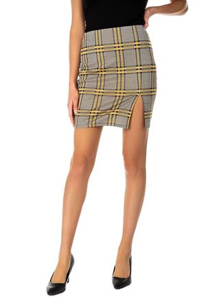 Eloise Plaid Bodycon Mini Skirt with Side-Slit