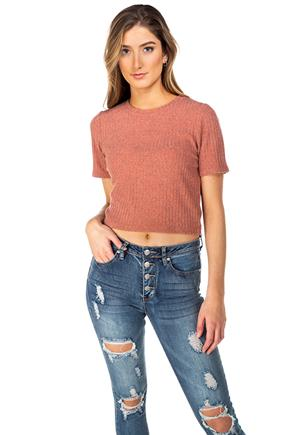 Ribbed Knit Sweater Short Sleeve Cropped Tee