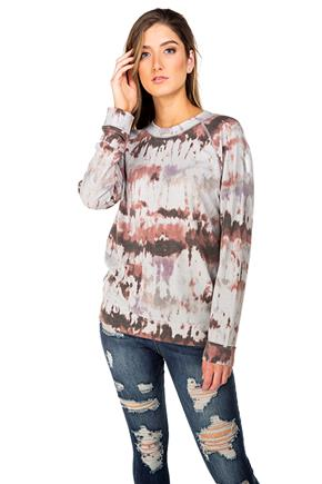 Tie-Dye French Terry Long Sleeve Sweatshirt with Flatlock Stitching
