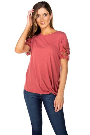 Short Sleeve Top with Knotted Hem and Lace Trim