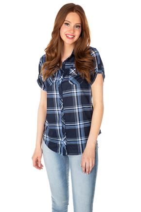 Navy and Blue Plaid Knit Short Sleeve Shirt