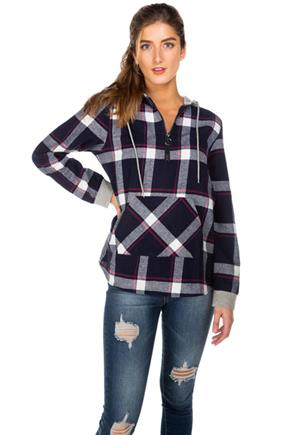 Kathleen Plaid Hooded Flannel with Half-Zipper and Kangaroo Pocket