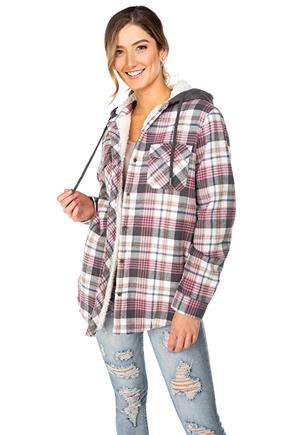 Ashley Plaid Hooded Flannel with Sherpa Lining