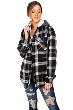Aubrey Plaid Hooded Flannel with Sherpa Lining