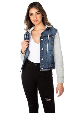 Wallflower Denim Jacket with Contrast Sleeves and Hood