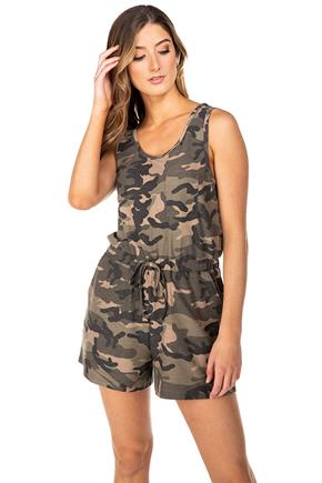 Camo Reverse French Terry Sleeveless Romper