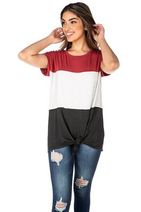 Colour-Block Short Sleeve Top with Tie-Front