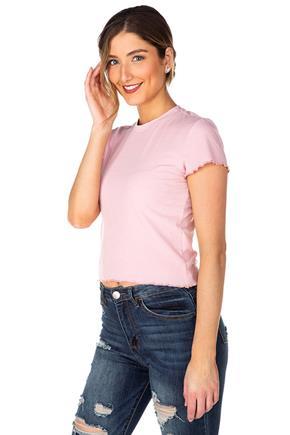 Ribbed Cropped Tee with Lettuce Edge