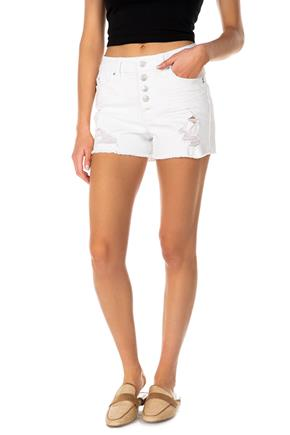 YMI Repreve White Distressed Mid-Rise Exposed Button-Fly Denim Short