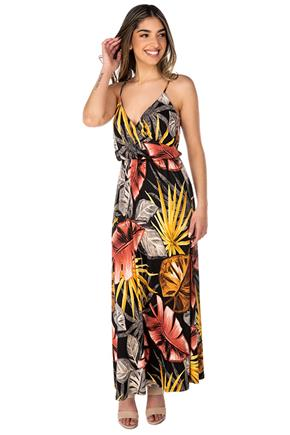 Tropical Brushed Crossover Maxi Dress