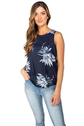 Tropical Floral Tank with Criss Cross Back and Shirttail Hem
