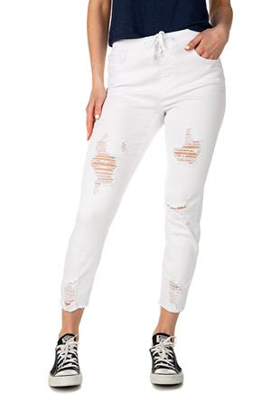 YMI White Distressed High-Rise Jogger with Frayed Hem