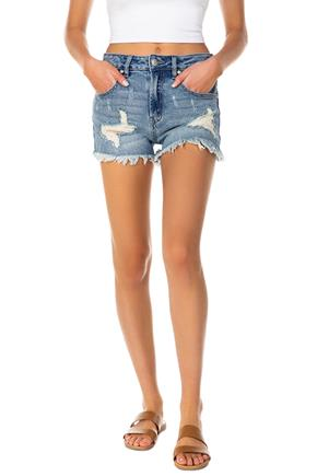 Almost Famous Mid Wash Distressed High-Rise Denim Short