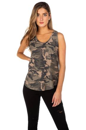 Camo Reverse French Terry Tank with Pocket