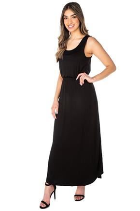 Maxi Dress with Pockets and Shirttail Hem