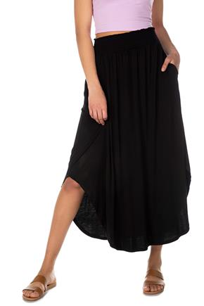 Maxi Skirt with Smocked Waistband and Shirttail Hem