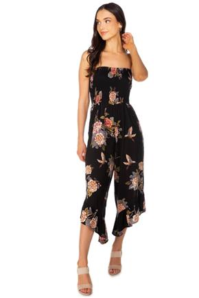 Boho Floral Strapless Jumpsuit with Ruffle Hem