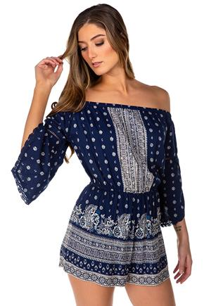 Boho Print Off-The-Shoulder Bell Sleeve Romper