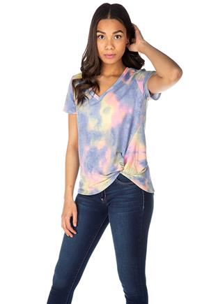 Pastel Tie-Dye French Terry Short Sleeve Top with Knotted Hem