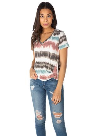 Tie-Dye Stripe French Terry Short Sleeve Top with Knotted Hem