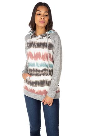 Tie-Dye Stripe Hoodie with Supersoft Sleeves