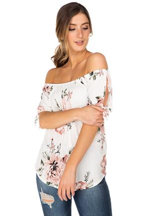 Floral Off-the-Shoulder Top with Ties on Sleeves