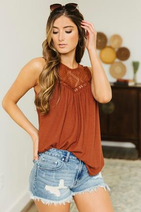 Waffle Knit Sleeveless Top with Lace Neckline