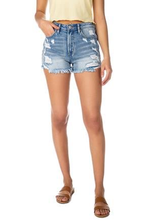 Almost Famous Mid Wash Distressed High-Rise Denim Mom Short