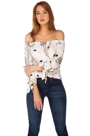 Feather Print Off-the-Shoulder Top with Tie-Sleeves