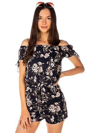 Floral Off-the-Shoulder Romper with Tie-Sleeves