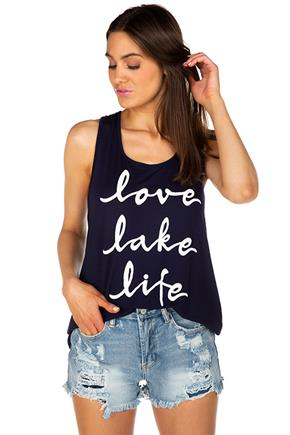 """Love, Lake, Life"" Graphic Tank with Crossover Back"