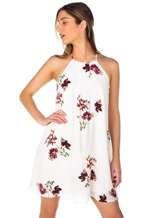 Floral Print High Neck Swing Dress