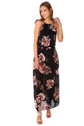 Floral Spaghetti Strap Maxi Dress with Elastic Waist