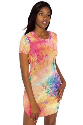 Tie-Dye Short Sleeve Bodycon Dress with Shirttail Hem
