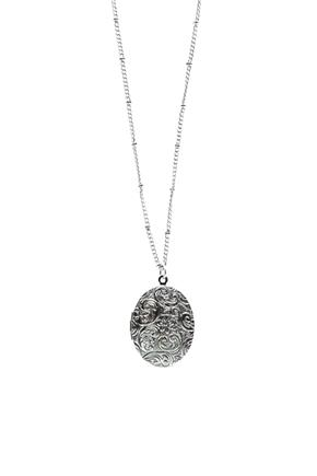 Engraved Locket Long Necklace