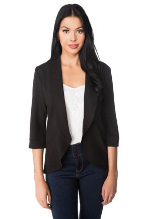 Open Blazer with Shawl Collar