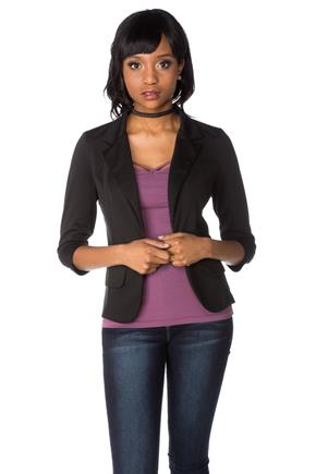 Ponte Blazer with Faux Pockets and Ruched Sleeves