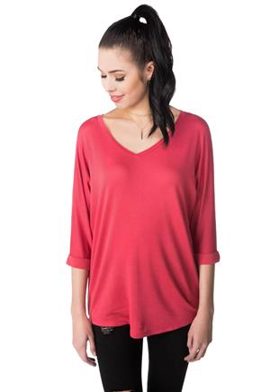 French Terry Dolman V-neck Top