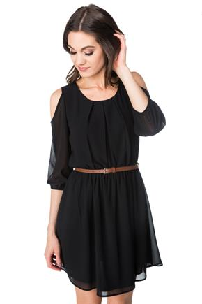 Cold Shoulder Dress with Skinny Belt