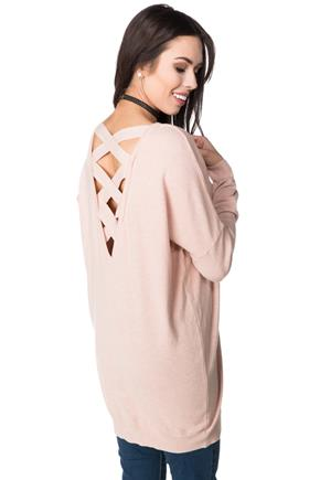 Tunic Sweater with Criss Cross Back Detail
