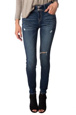 "WallFlower Sapphire Wash Mid-Rise ""Insta Soft"" Ripped Jegging"
