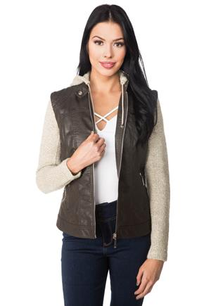 Faux Leather Vest with Knitted Sleeves and Hood