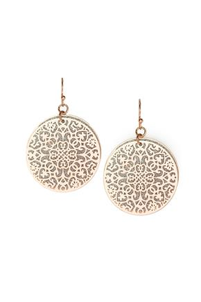 Layered Frosted and Filigree Disc Earrings