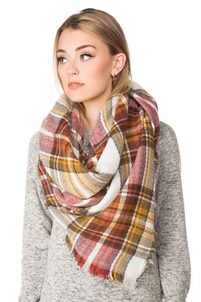 Mustard and Burgundy Plaid Blanket Scarf